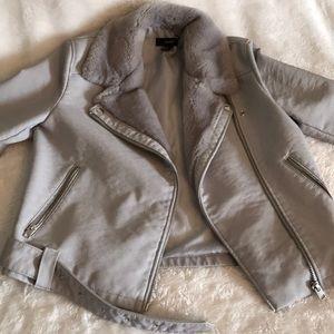Grey leather fur jacket